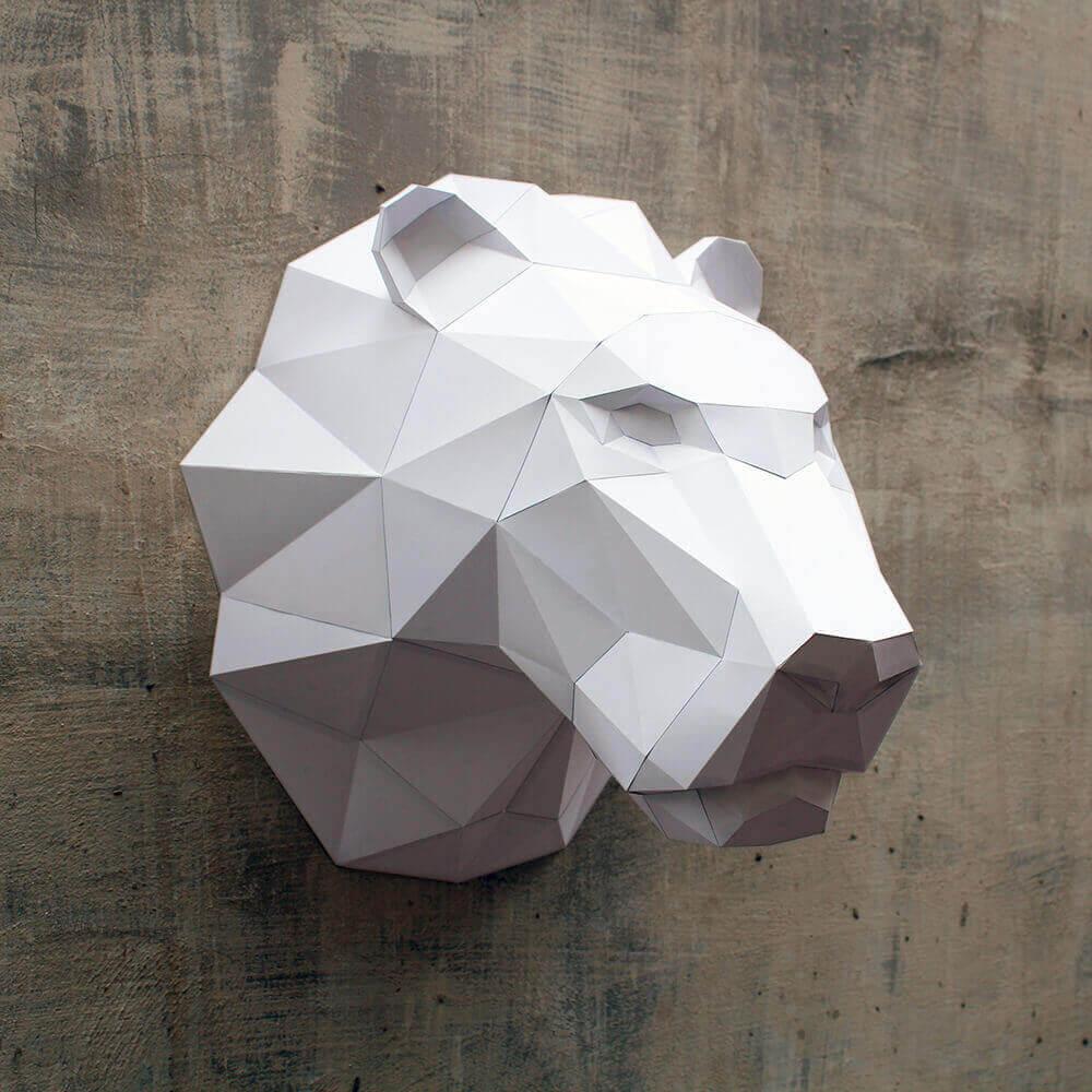Figura de papel le n fosforito - Cabezas de animales decoracion ...