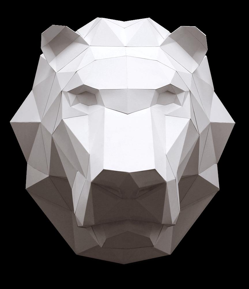 puzzle 3d cabeza leon